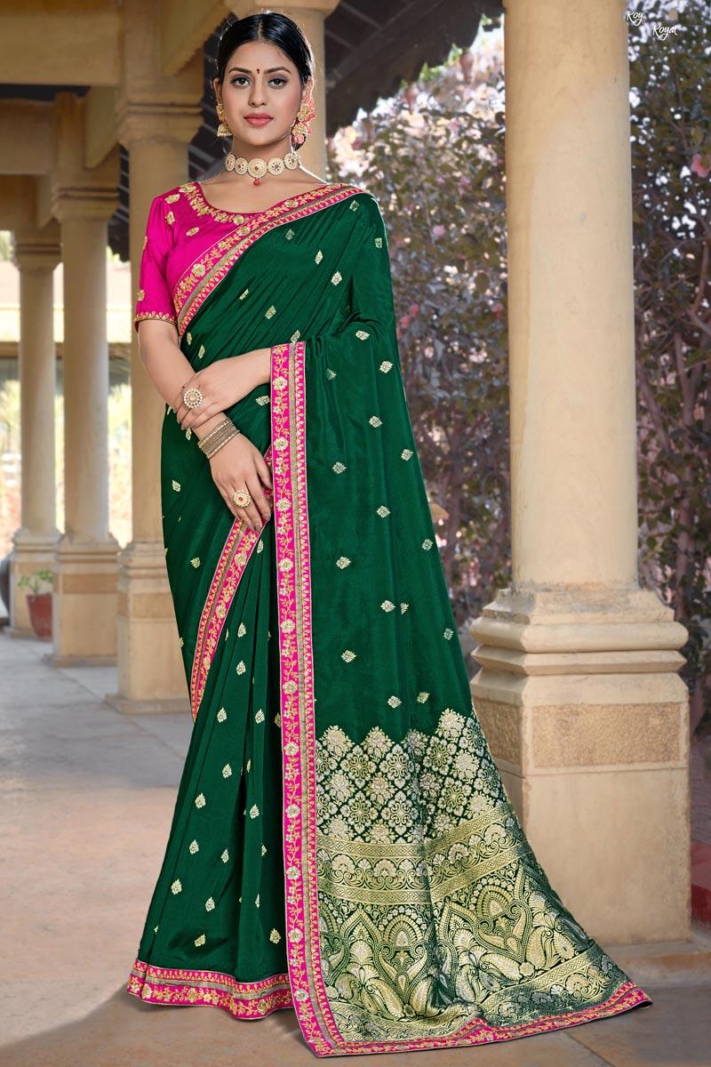 Party Wear Viscose Fabric Chic Dark Green Color Weaving Work Saree