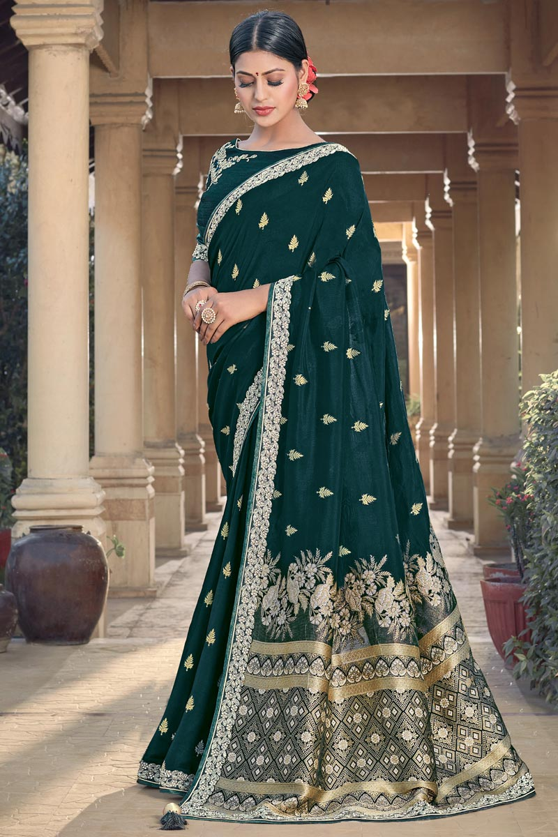 Party Wear Chic Viscose Fabric Weaving Work Teal Color Saree