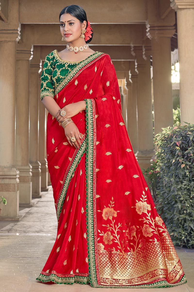 Party Wear Chic Viscose Fabric Weaving Work Saree In Red Color