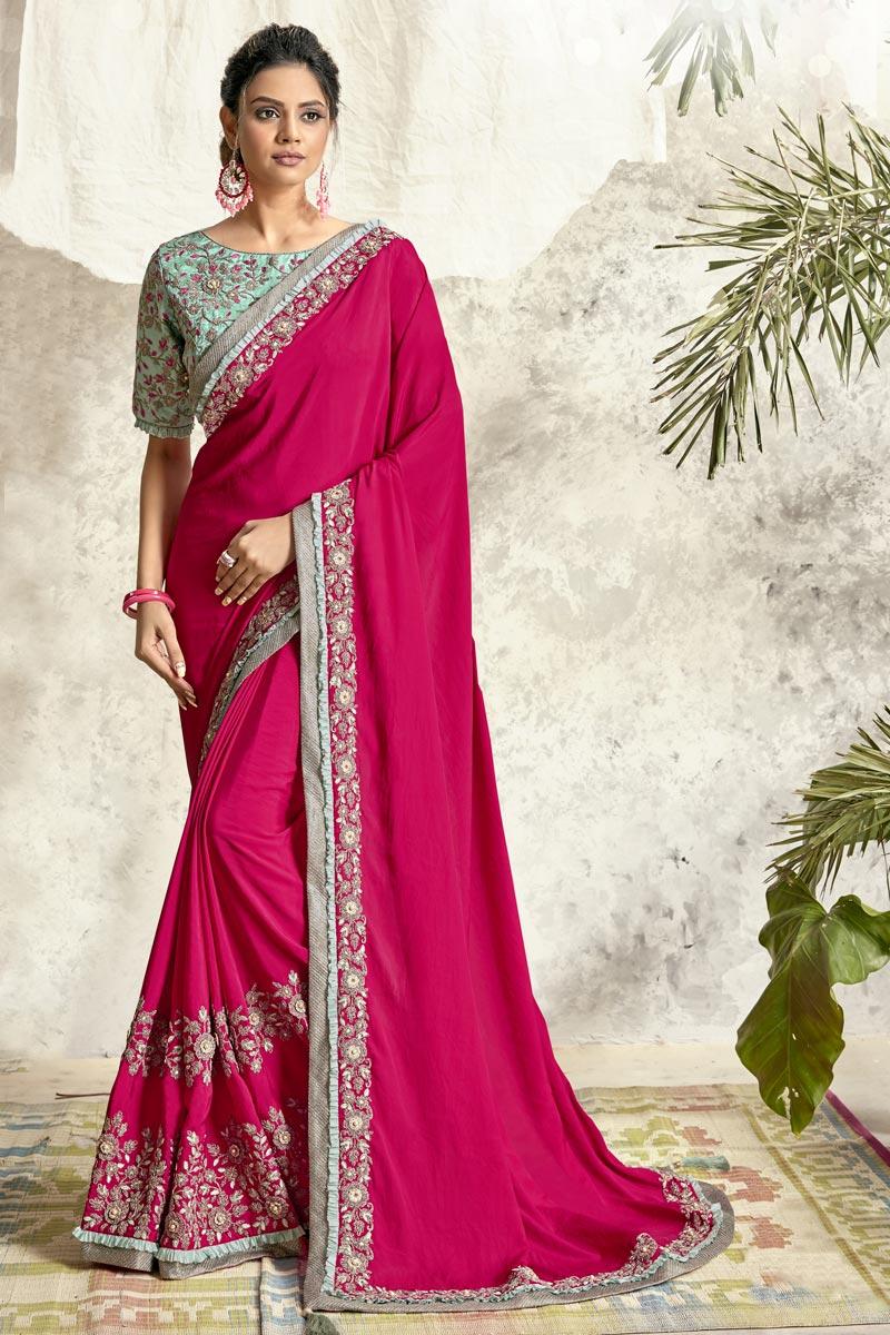 Rani Color Designer Embroidery Work Saree In Crepe Silk Fabric
