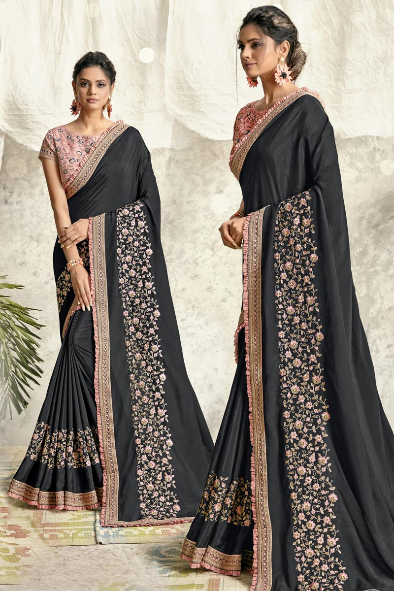 Georgette Silk Fabric Party Wear Embroidery Work Saree In Black Color