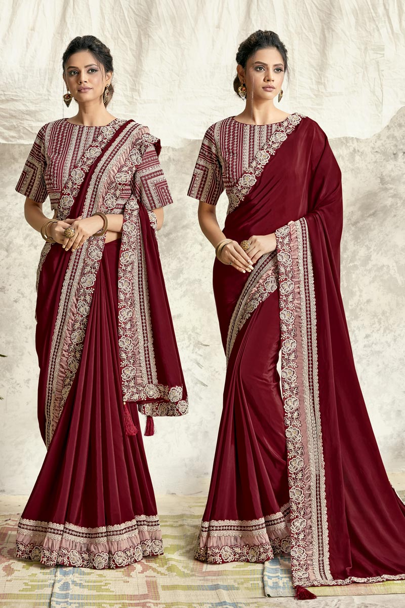 Maroon Color Georgette Silk Fabric Festive Wear Embroidery Work Saree