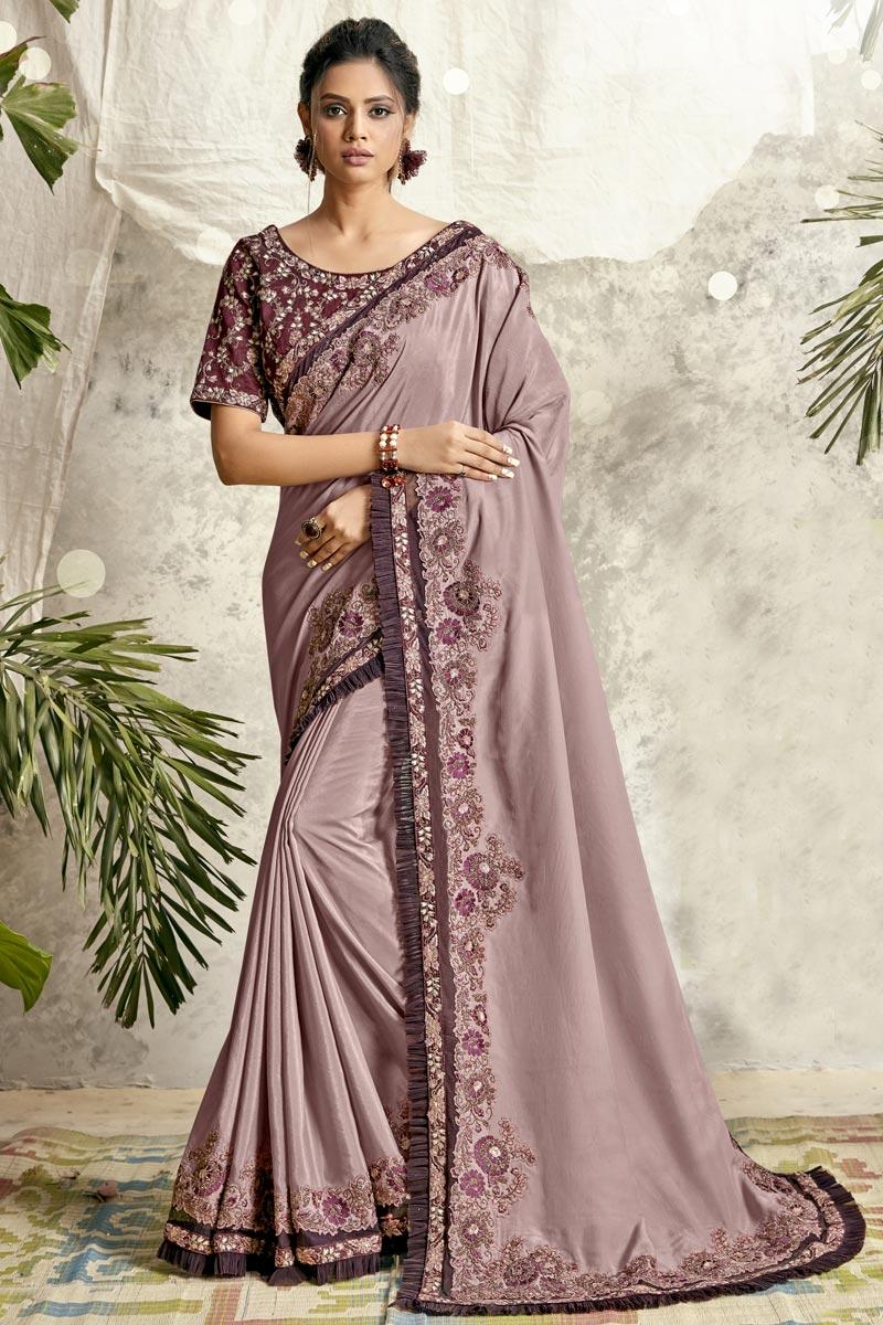 Crepe Silk Fabric Lavender Color Designer Embroidery Work Saree