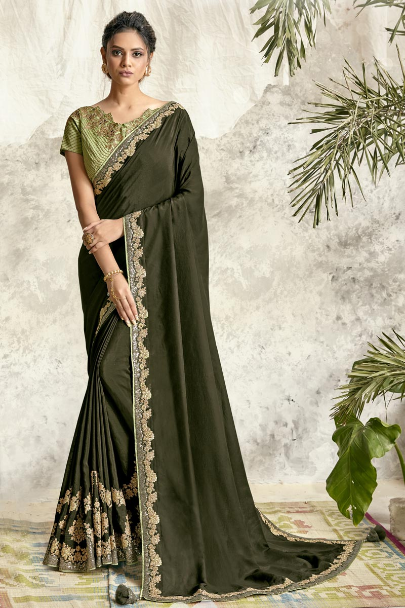 Olive Color Party Wear Embroidery Work Saree In Crepe Silk Fabric