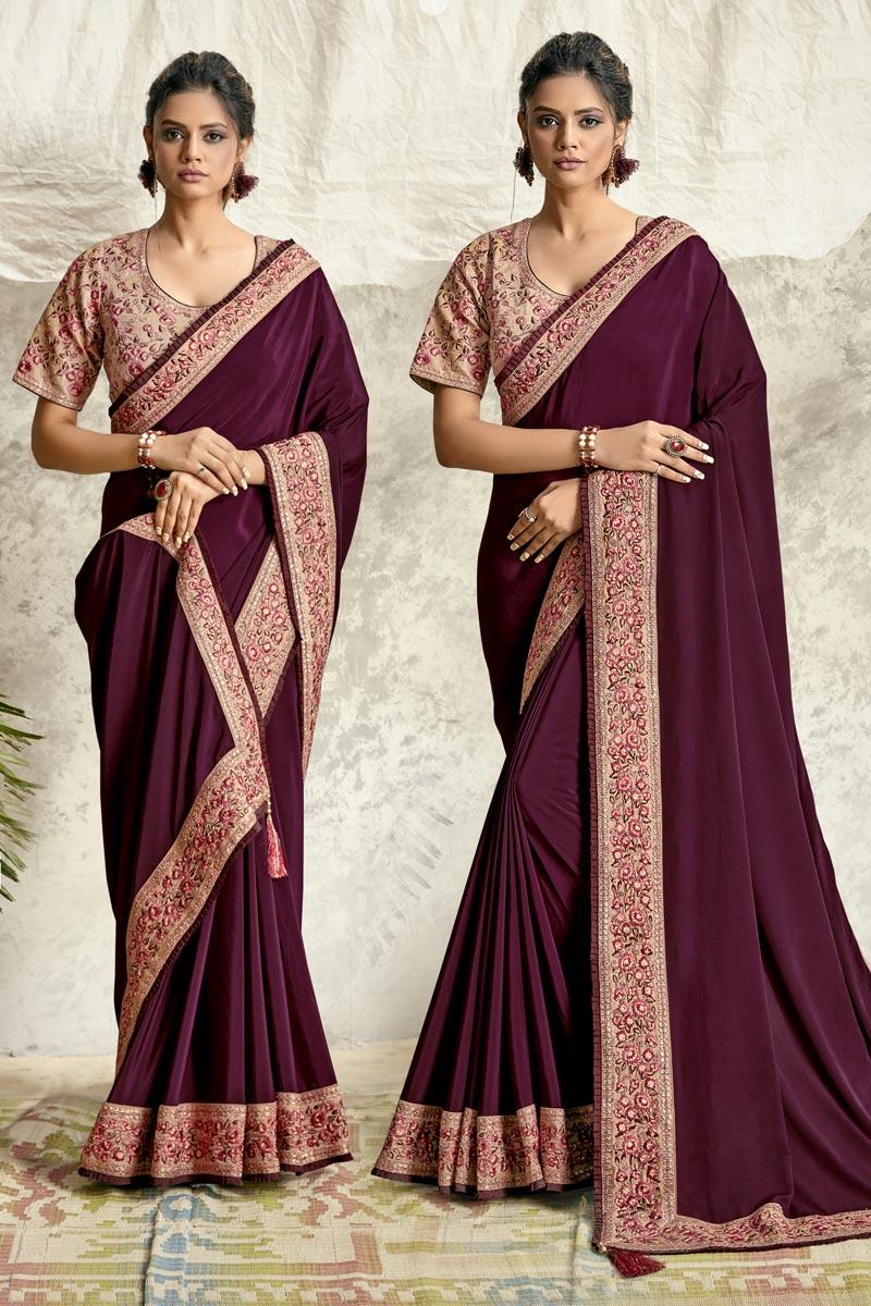 Crepe Silk Fabric Designer Embroidery Work Saree In Burgundy Color
