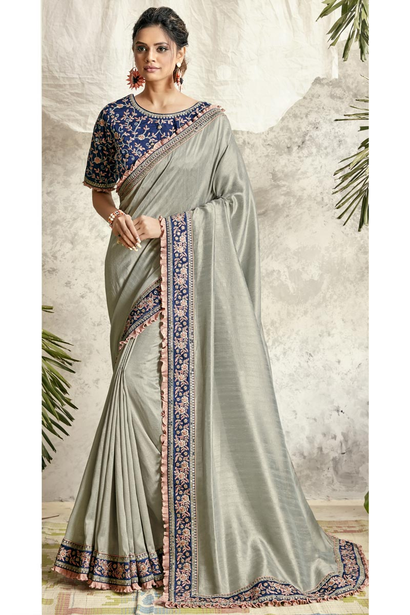 Grey Color Art Silk Fabric Occasion Wear Embroidery Work Saree