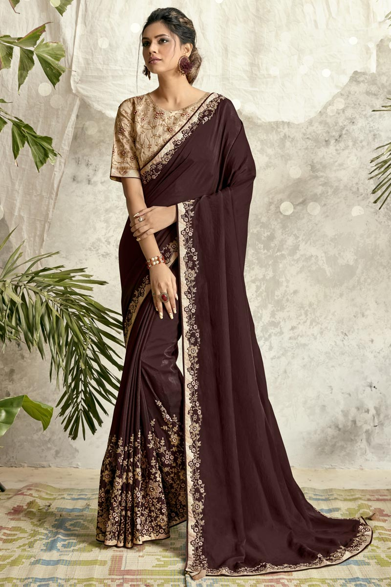 Function Wear Brown Color Embroidery Work Saree In Crepe Silk Fabric