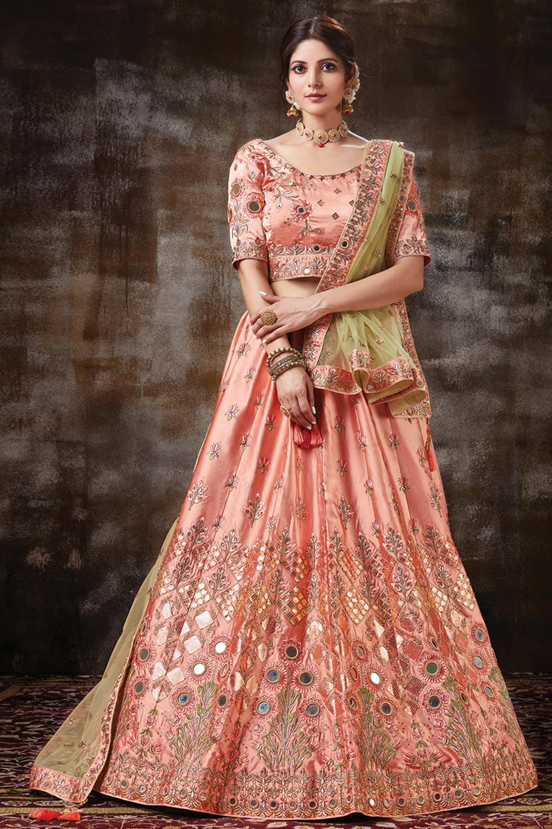 Peach Color Function Wear Designer Embroidered Lehenga In Satin Silk Fabric