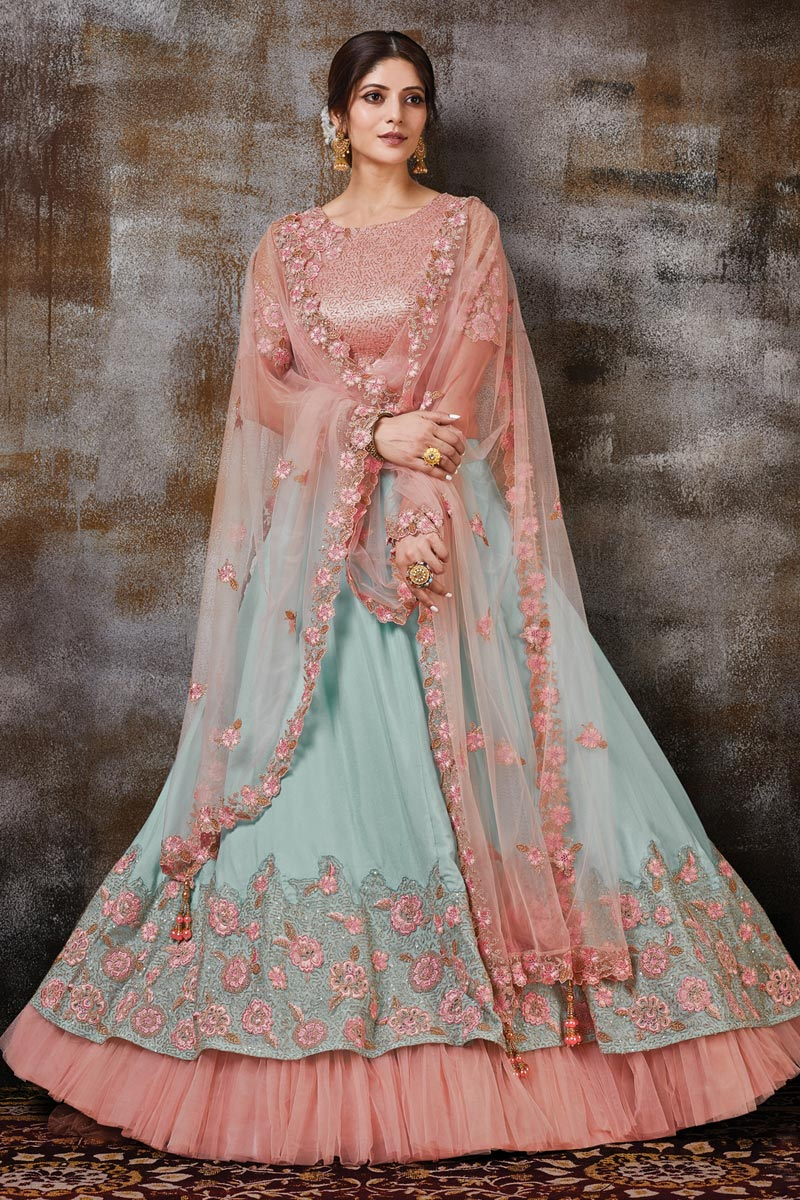 Designer Embroidered Cyan Color Function Wear Georgette Silk Fabric Lehenga Choli