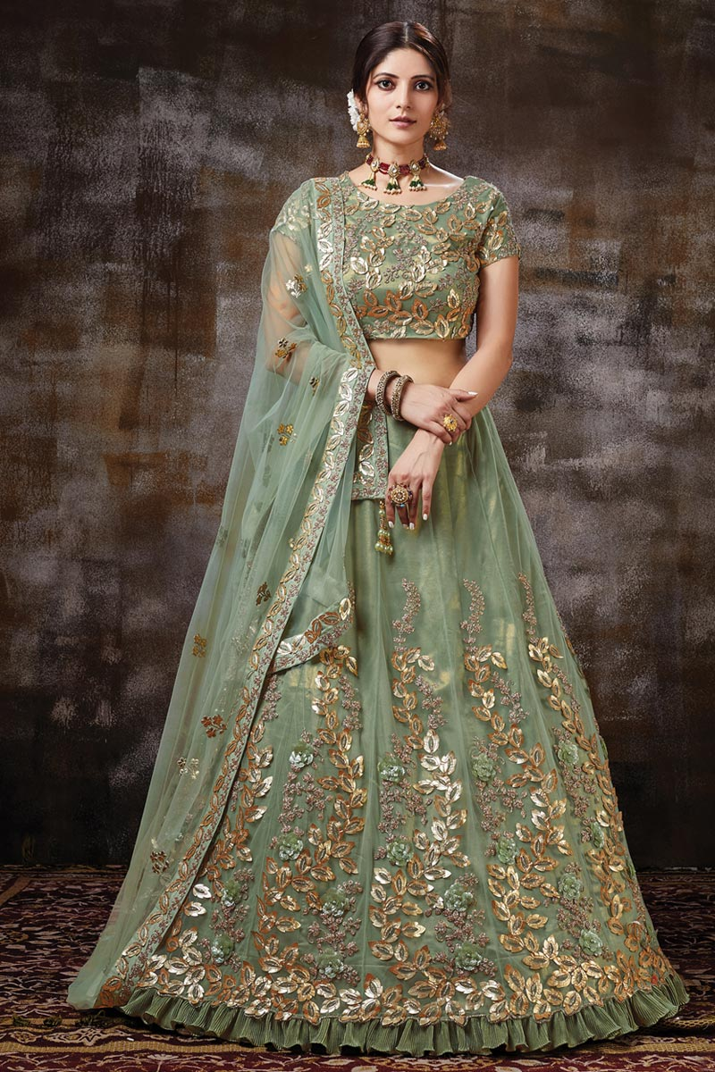 Green Color Function Wear Net Fabric Embroidered Designer Lehenga