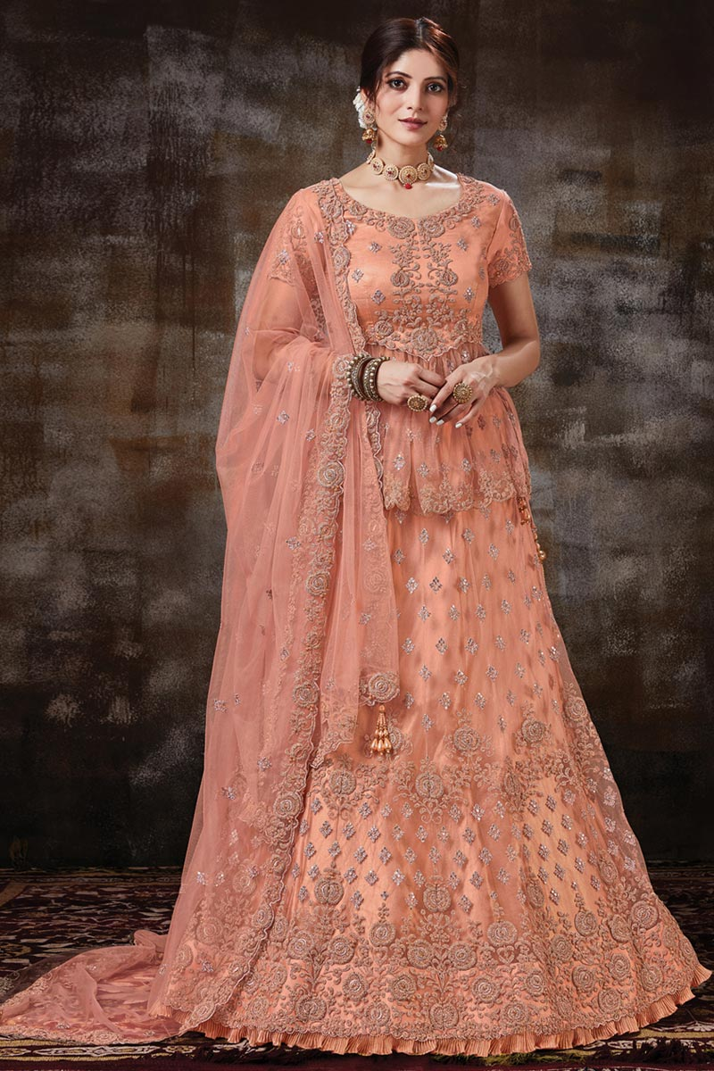 Function Wear Net Fabric Embroidered Peach Color Designer Lehenga Choli