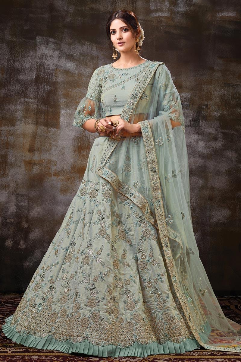 Art Silk Fabric Function Wear Designer Embroidered Light Cyan Color Lehenga