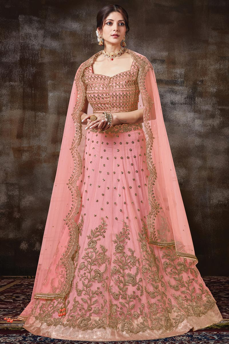 Function Wear Pink Color Georgette Silk Fabric Embroidered Designer Lehenga Choli