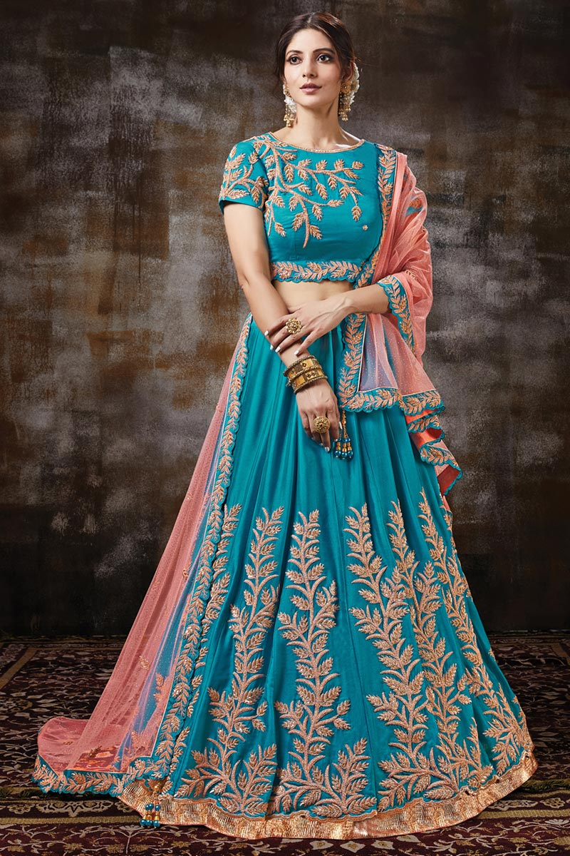Satin Fabric Function Wear Designer Embroidered Lehenga In Cyan Color