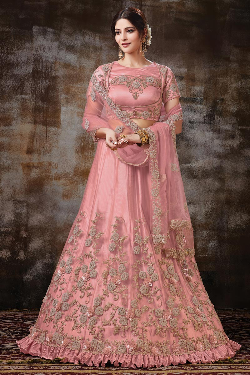 Designer Embroidered Net Fabric Function Wear Pink Color Lehenga Choli