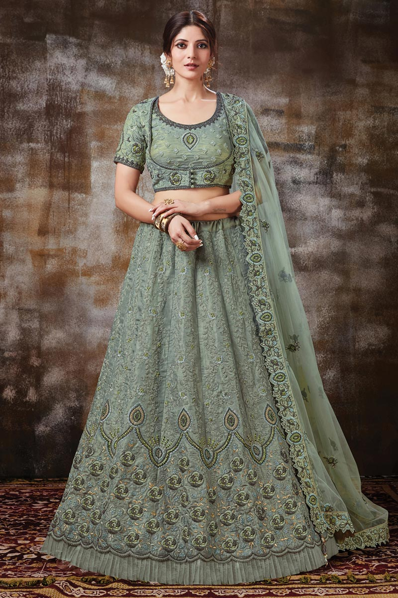 Art Silk Fabric Function Wear Sea Green Color Embroidered Designer Lehenga