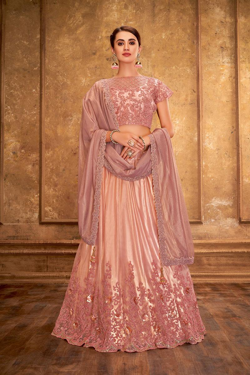 Pink Color Satin Silk Wedding Wear 3 Piece Lehenga Choli With Embroidery Work