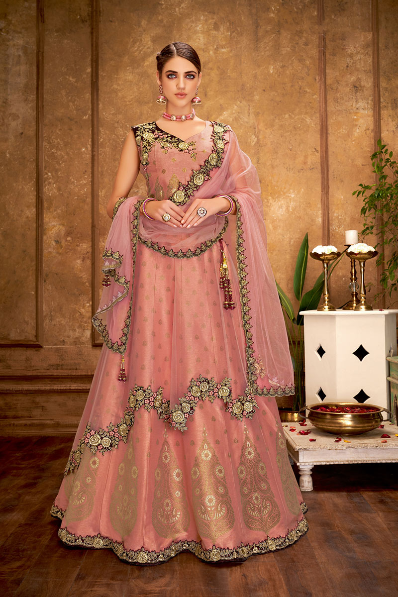 Embroidered Wedding Wear Lehenga Choli In Art Silk Peach Color
