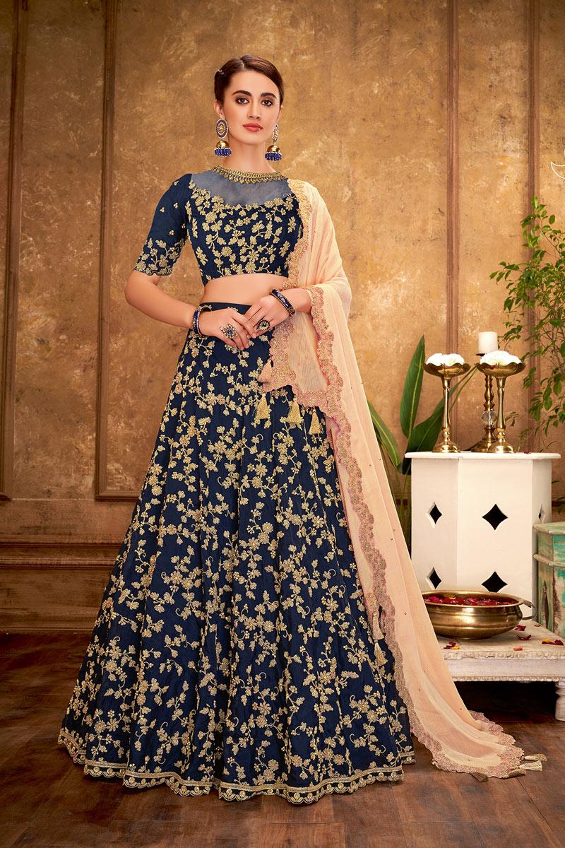 Embroidery Designs On Navy Blue Color Art Silk Wedding Wear Lehenga