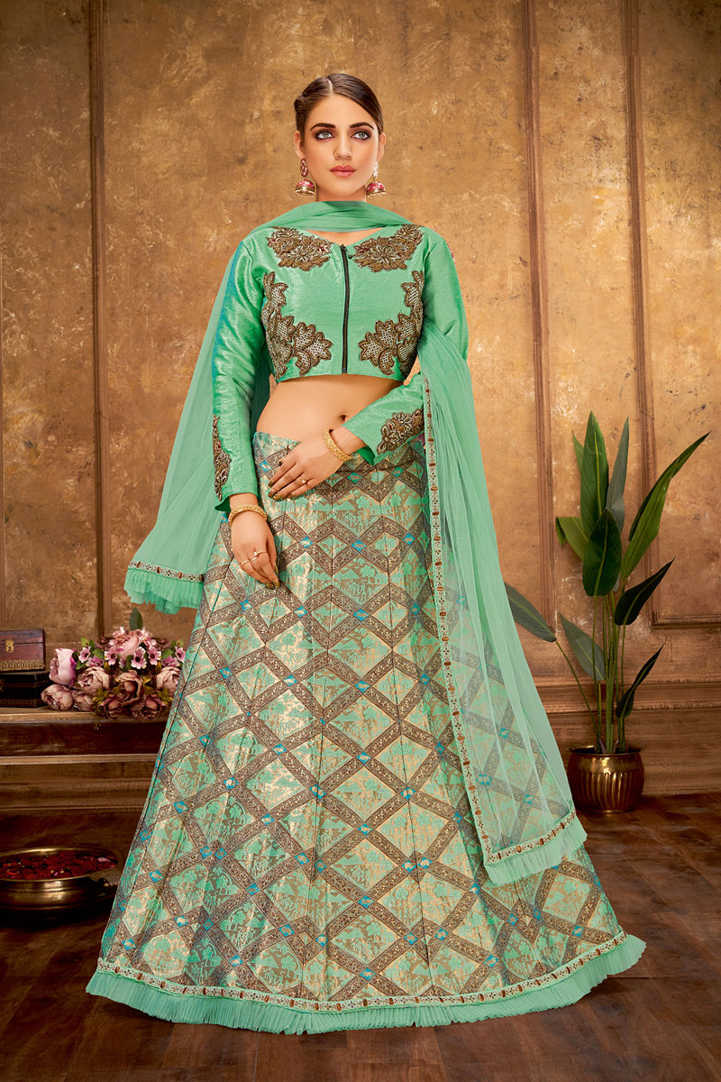 Embroidered Occasion Wear Lehenga In Art Silk Sea Green Color