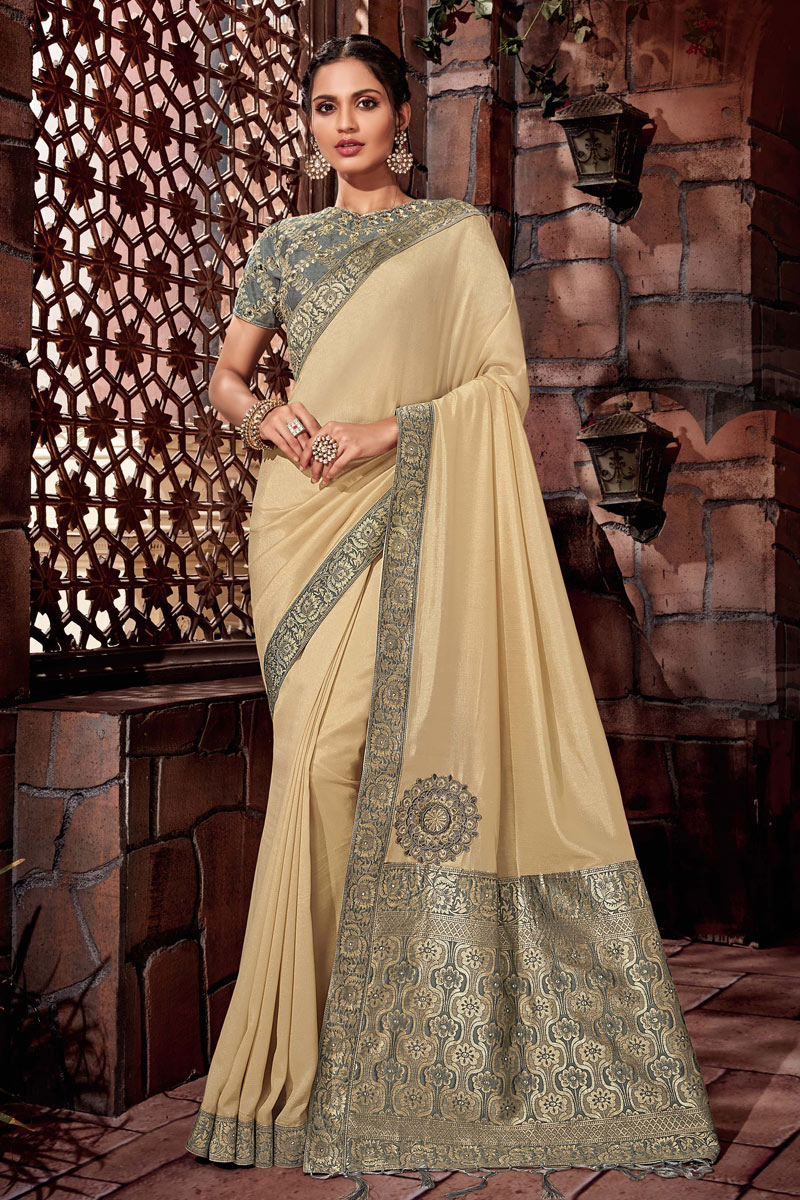 Cream Art Silk Fabric Wedding Wear Saree With Embroidery Work And Gorgeous Blouse