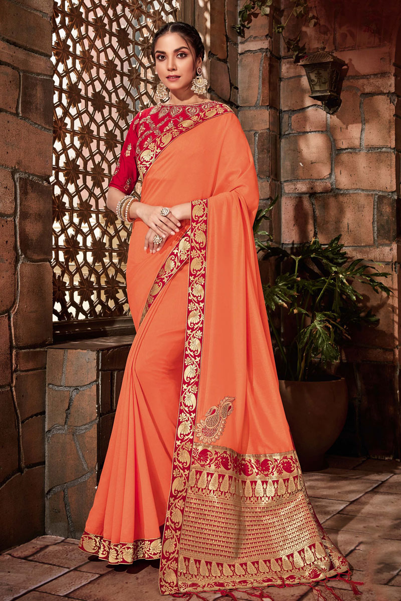 Art Silk Fabric Embroidery Designs On Orange Reception Wear Saree With Attractive Blouse