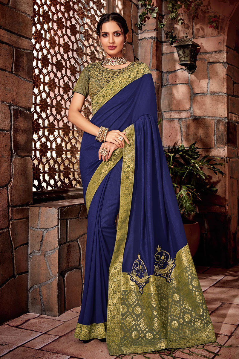 Art Silk Fabric Blue Embroidered Designer Saree With Designer Blouse
