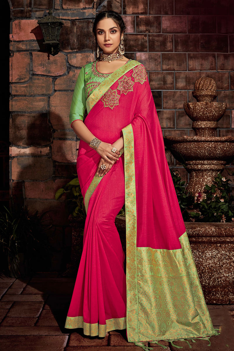 Embroidery Work On Reception Wear Saree In Art Silk Fabric Rani With Charming Blouse