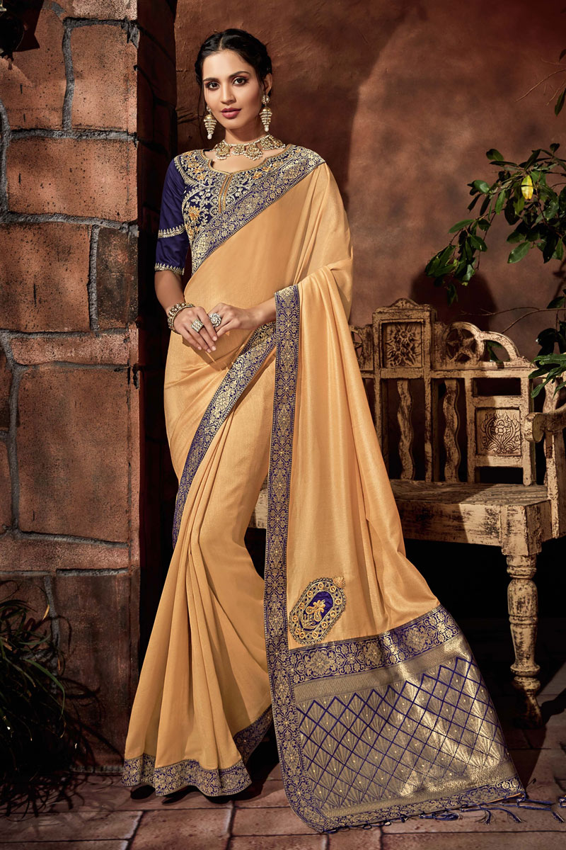Embroidery Work On Cream Designer Saree In Art Silk Fabric With Admirable Blouse