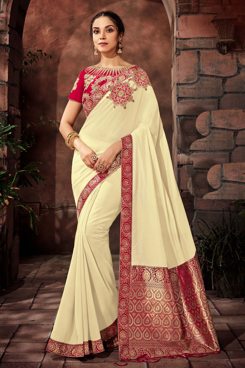 Embroidery Work On Art Silk Fabric Designer Saree In Beige With Attractive Blouse