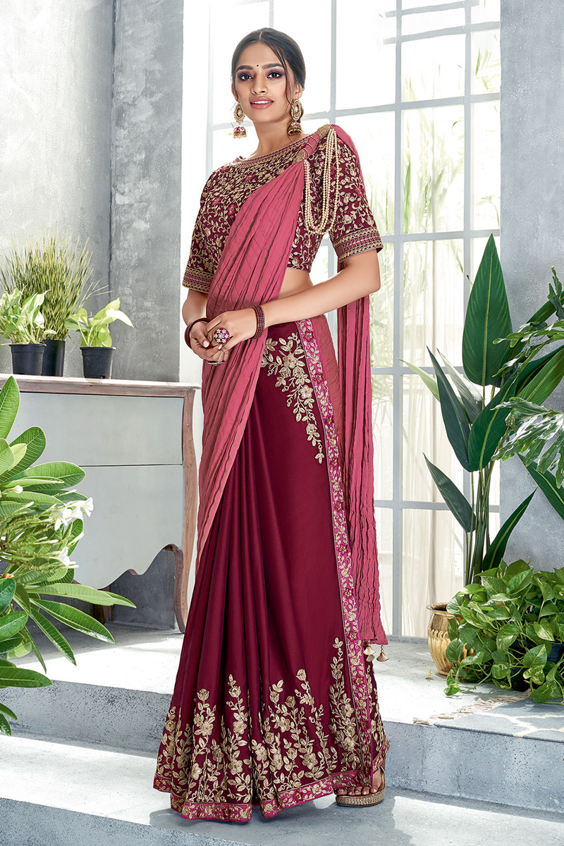 Embroidery Work On Silk Georgette Designer Ready To Wear One Minute Saree In Maroon Color