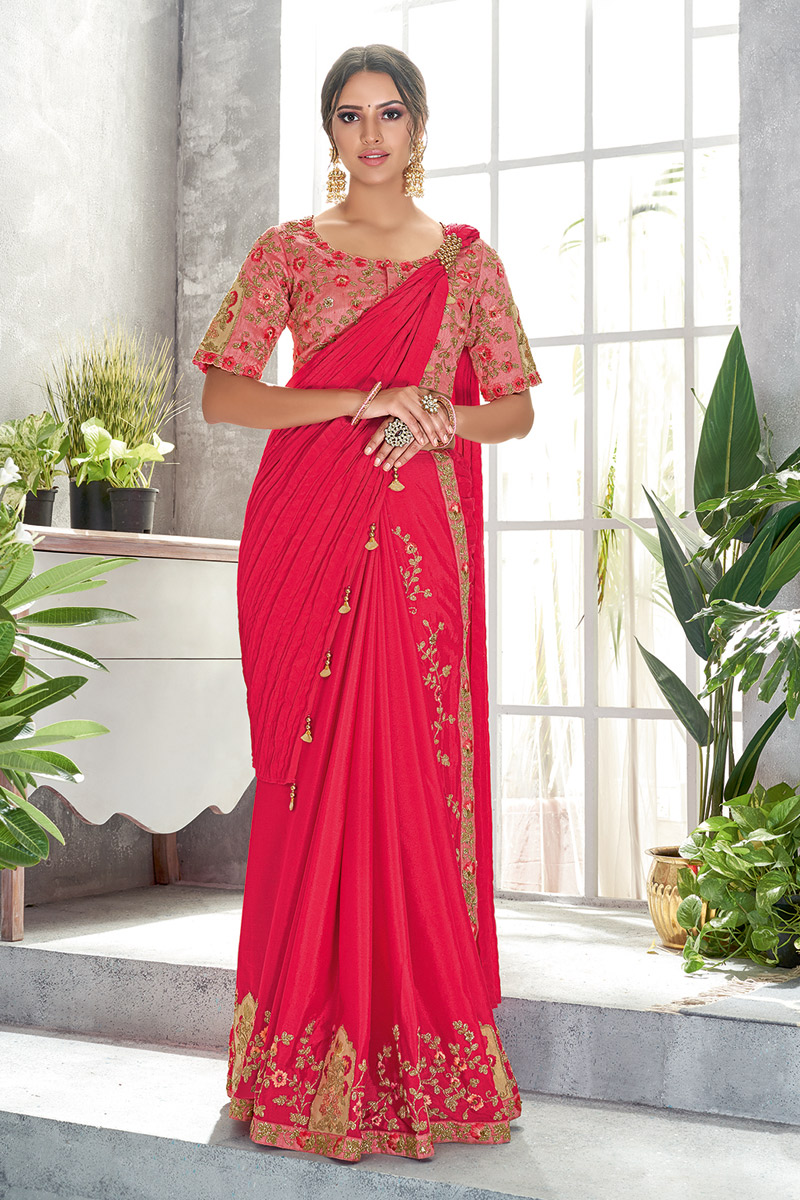 Designer Ready To Wear One Minute Saree In Silk Georgette Fabric Crimson With Embroidery Work