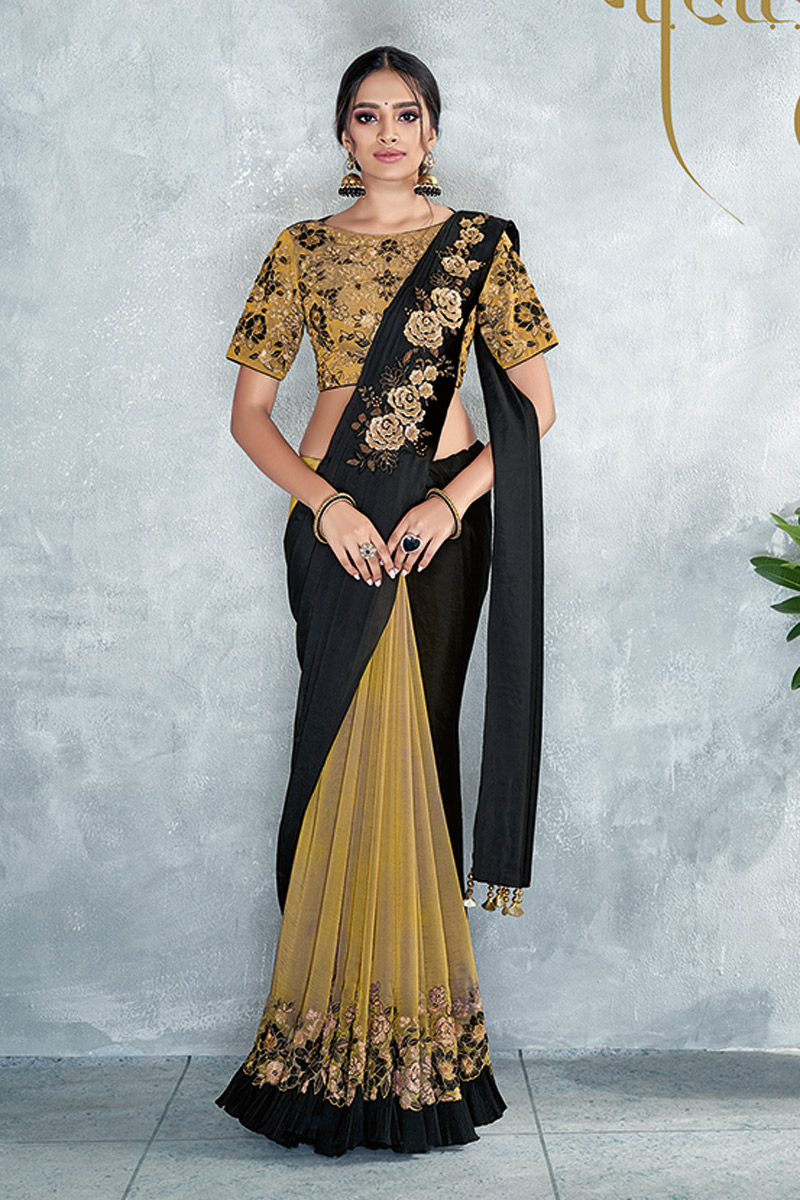Black Party Wear Ready To Wear One Minute Saree In Satin Silk Fabric With Embroidery Work