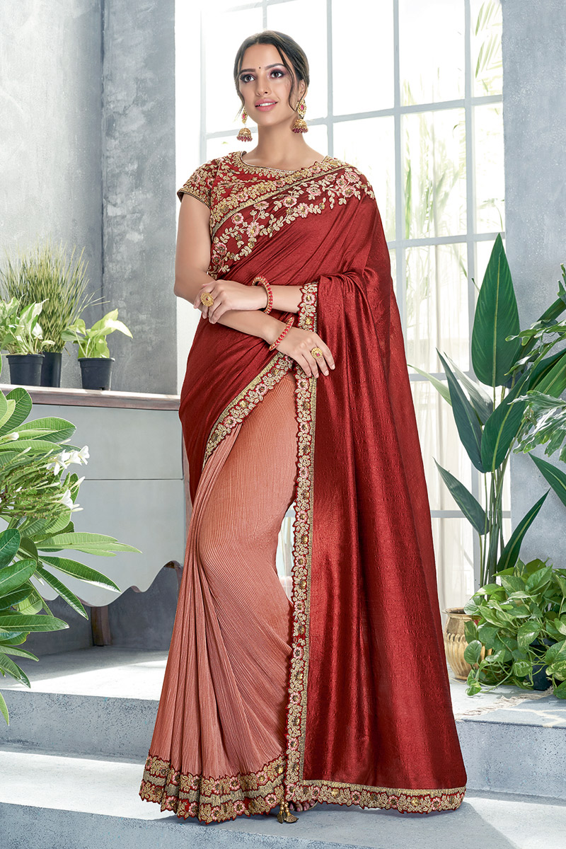 Art Silk Fabric Maroon Festive Wear Ready To Wear One Minute Saree With Embroidery Work