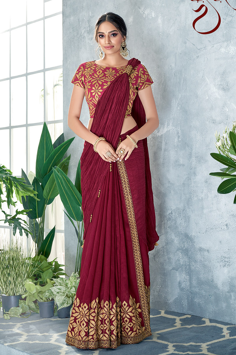 Maroon Sangeet Wear Ready To Wear One Minute Saree With Embroidery Work In Art Silk Fabric