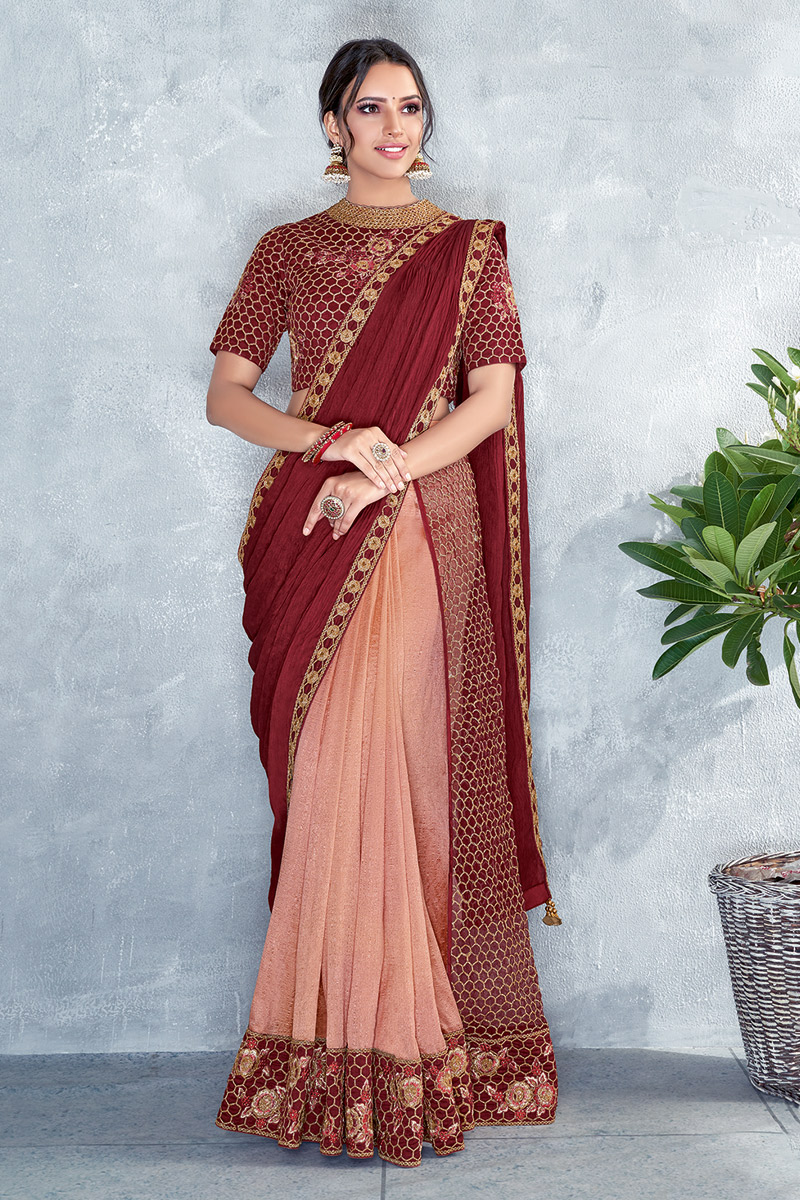 Maroon Party Wear Ready To Wear One Minute Saree In Art Silk Fabric