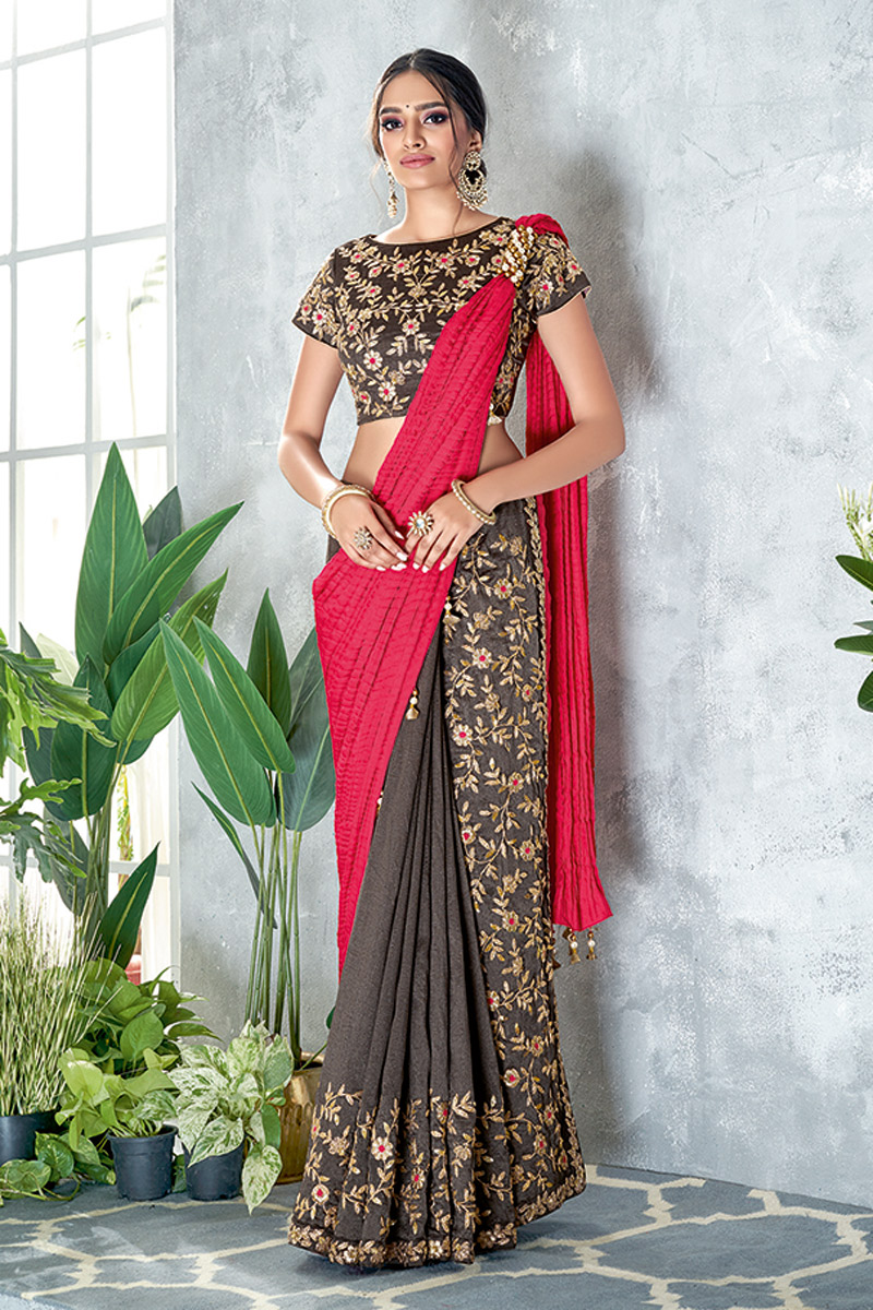 Embroidered Wedding Wear Ready To Wear One Minute Saree In Silk Georgette Fabric Grey