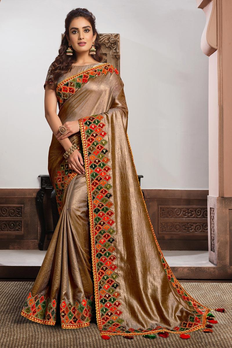 Satin Silk Fabric Puja Wear Chikoo Color Embroidered Saree