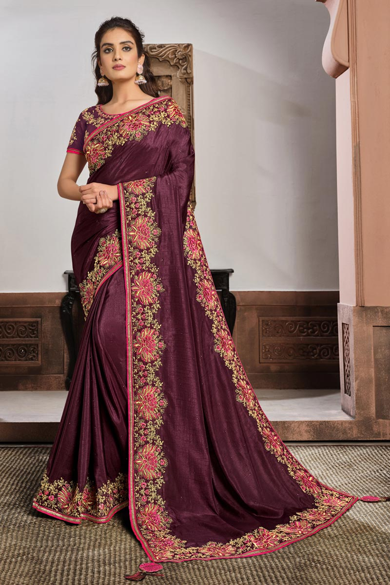 Wine Color Function Wear Georgette Silk Fabric Embroidered Saree
