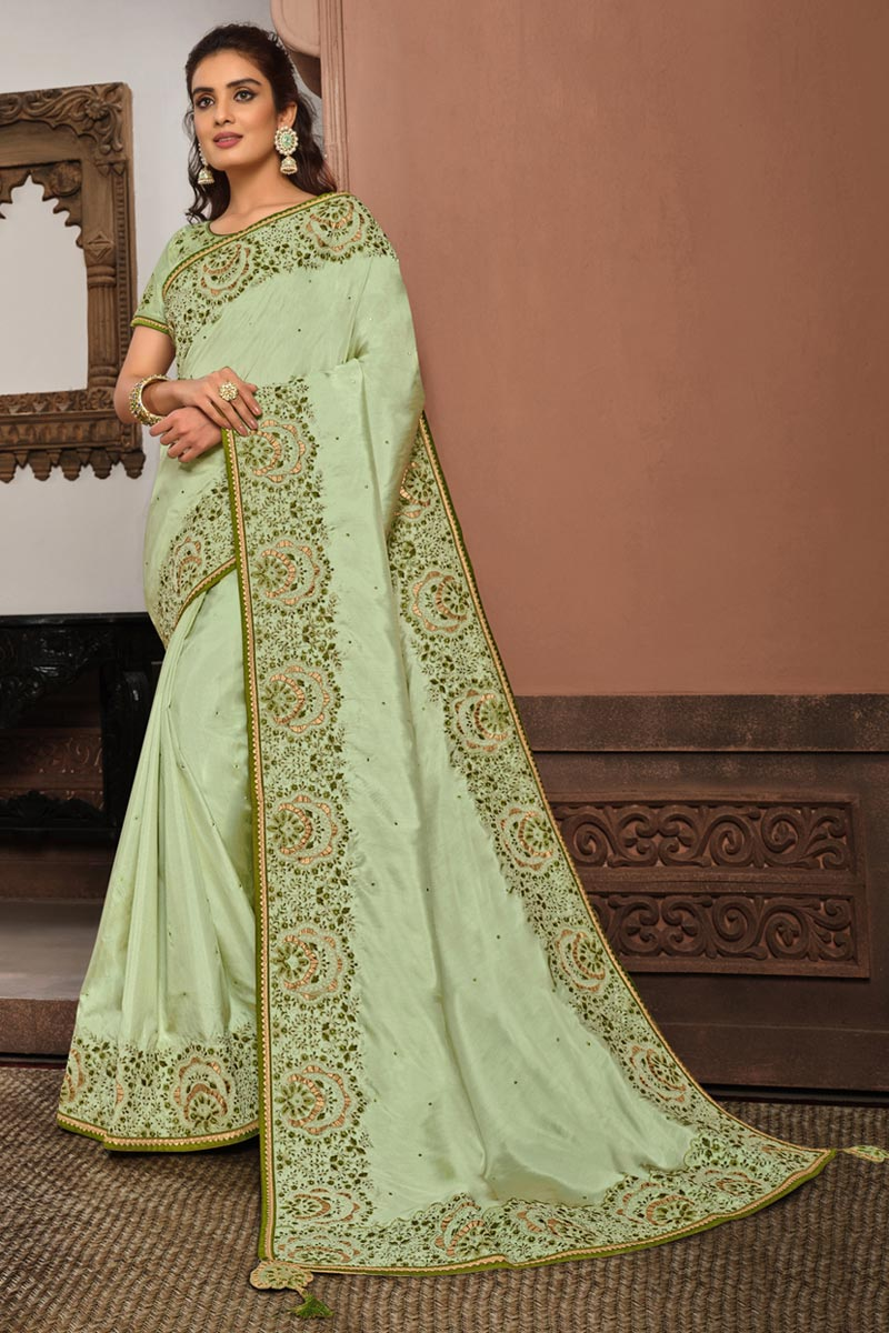 Georgette Silk Fabric Festive Wear Sea Green Color Embroidered Saree