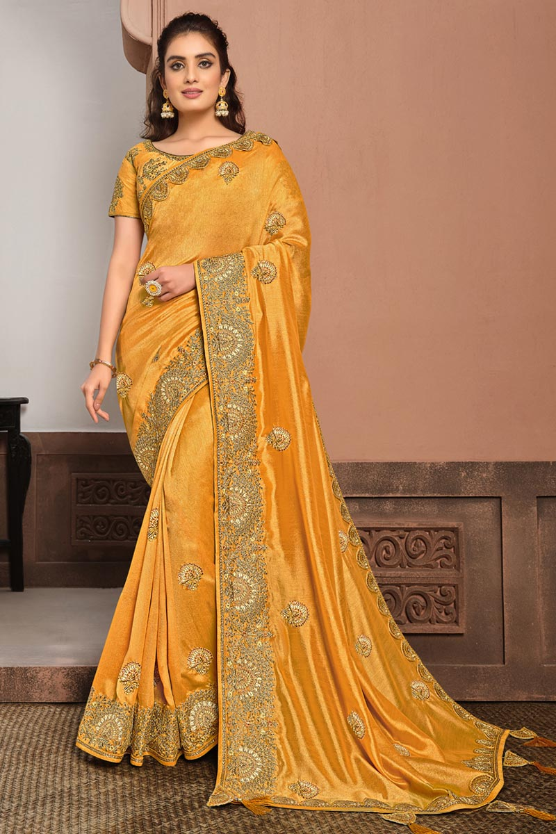 Party Wear Mustard Color Georgette Silk Fabric Embroidered Saree