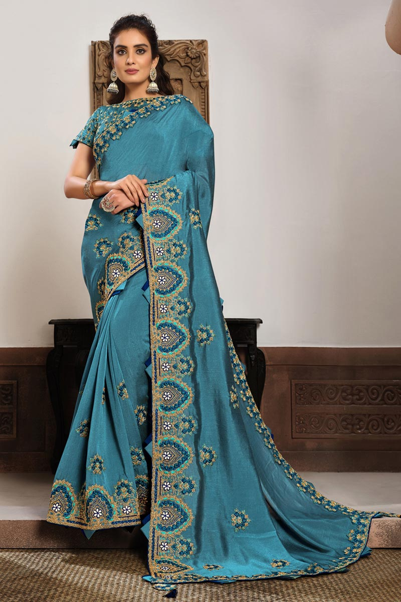 Sangeet Wear Georgette Silk Fabric Embroidered Saree In Sky Blue Color