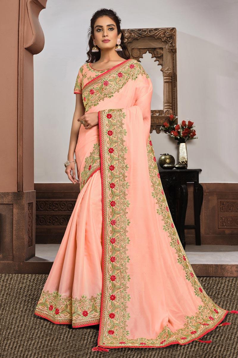 Peach Color Wedding Wear Georgette Silk Fabric Embroidered Saree
