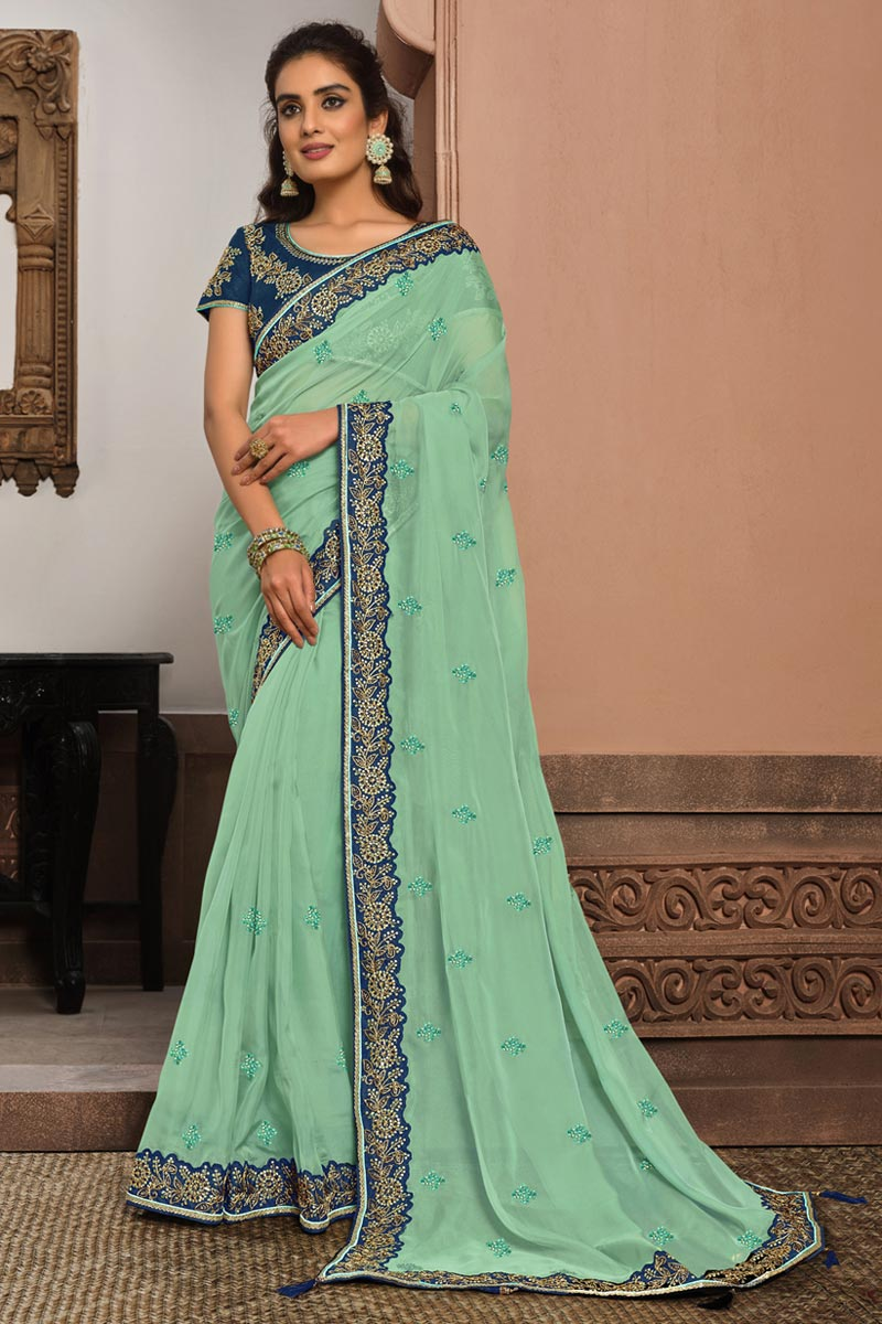 Fancy Fabric Reception Wear Sea Green Color Embroidered Saree