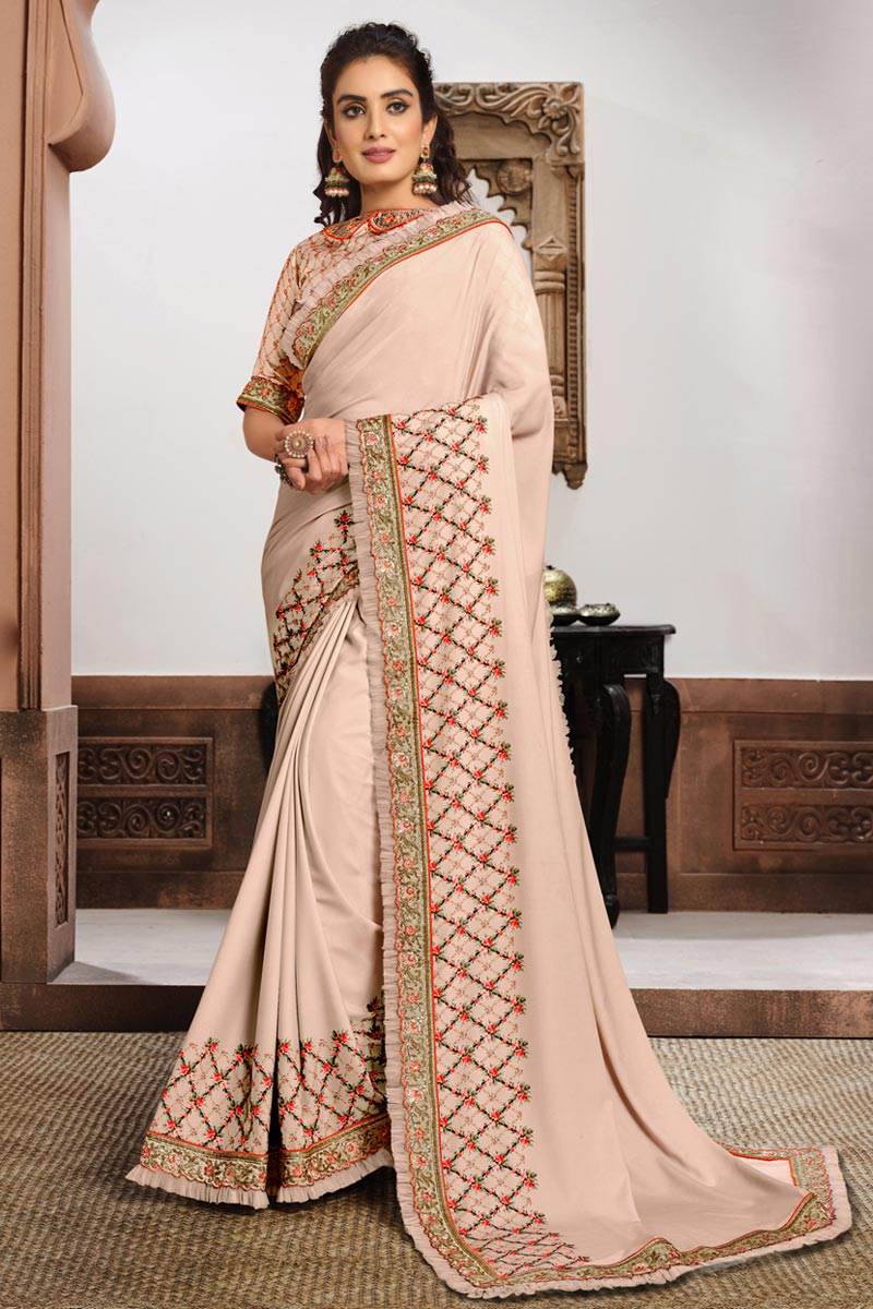Chikoo Color Puja Wear Georgette Silk Fabric Embroidered Saree