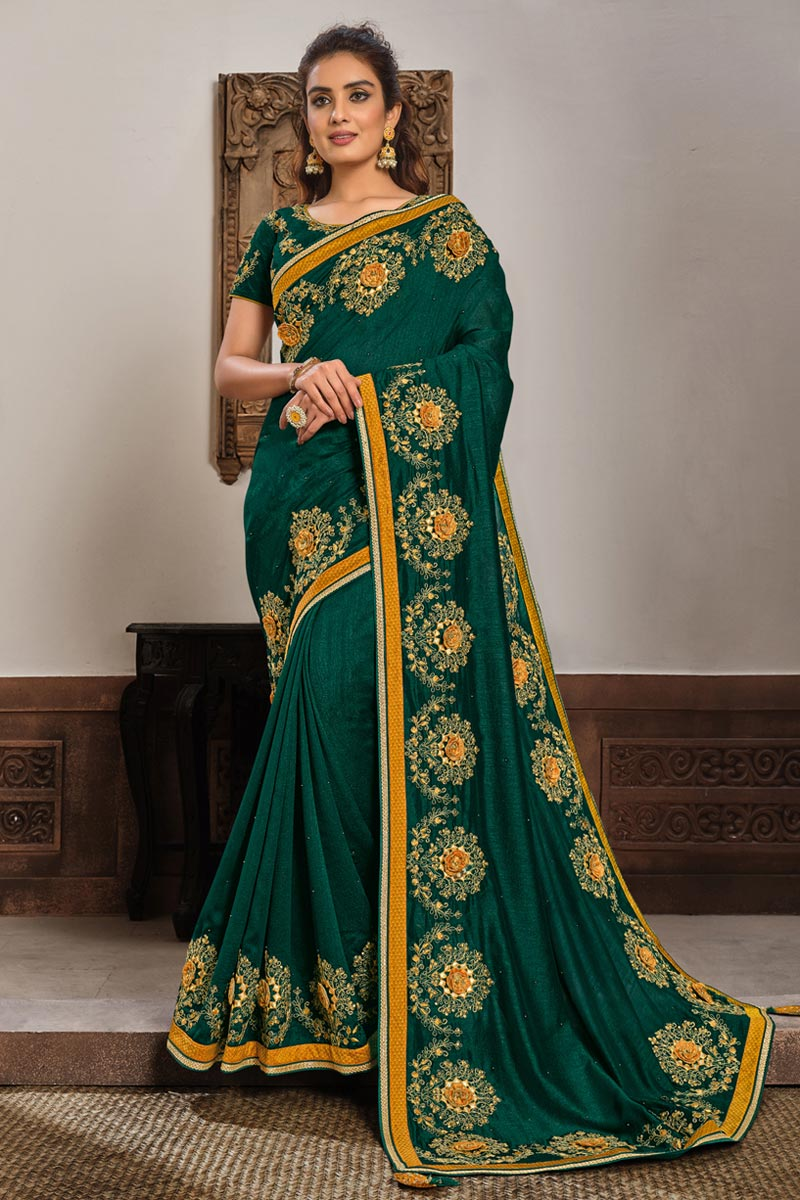 Georgette Silk Fabric Function Wear Dark Green Color Embroidered Saree