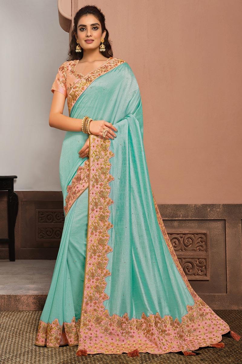 Festive Wear Cyan Color Art Silk Fabric Embroidered Saree