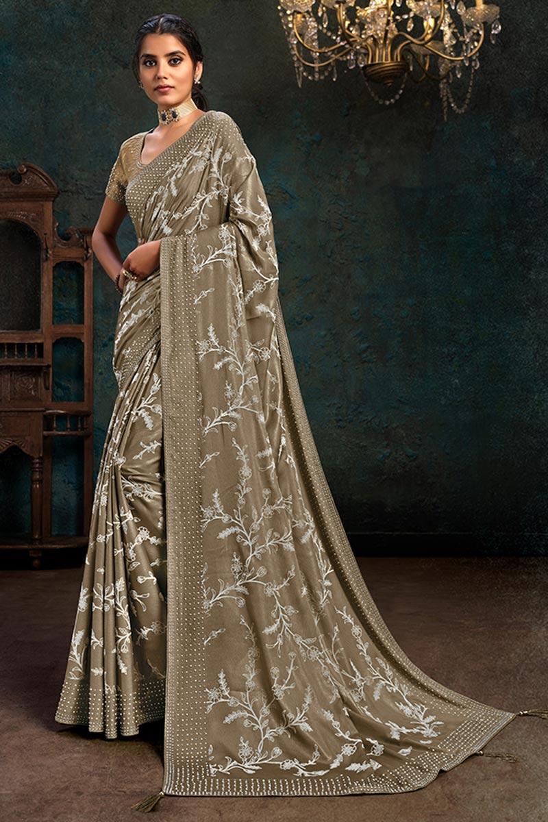 Dark Beige Color Party Wear Saree In Georgette Silk Fabric