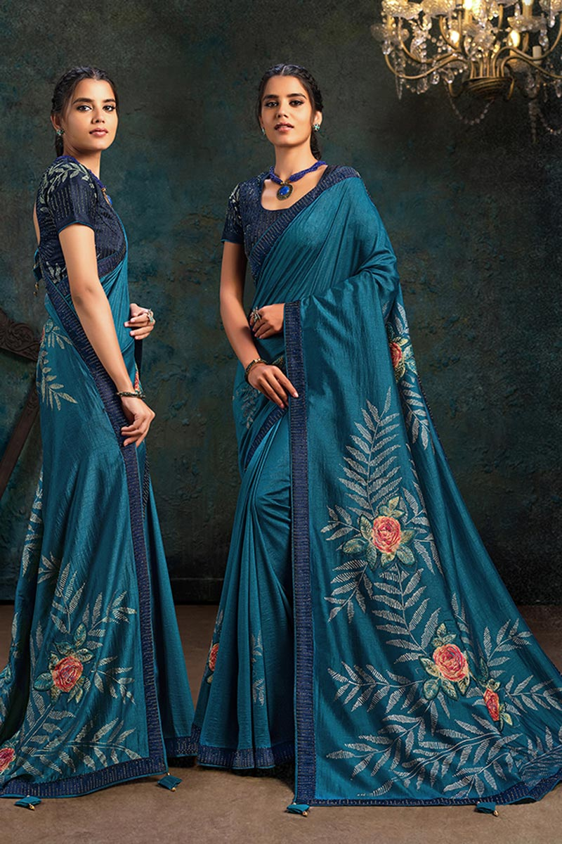 Art Silk Fabric Designer Saree In Teal Color