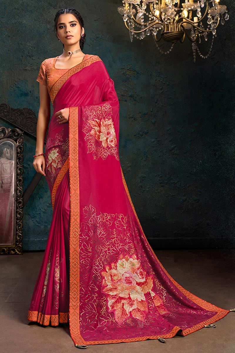 Rani Color Georgette Silk Fabric Occasion Wear Saree